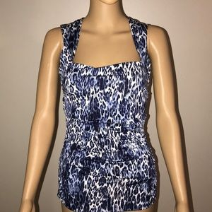 Cache -Blue and white leopard print top